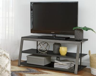 Dark Wood Tv Credenza : Wooden tv stand zurich dark metal legs light wood pib
