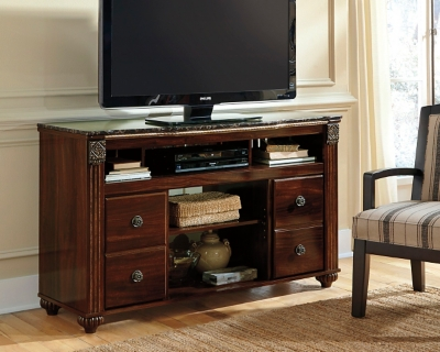 "Ashley Gabriela 59"" TV Stand, Dark Reddish Brown"
