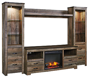 ... Trinell 4 Piece Entertainment Center With Electric Fireplace, , Large
