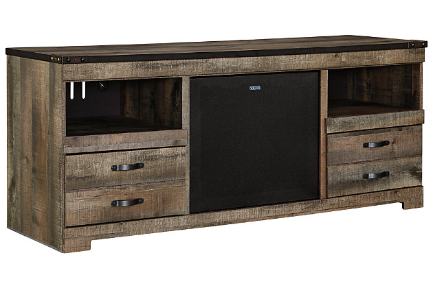 "Trinell 63"" TV Stand with Wireless Pairing Speaker, , large"