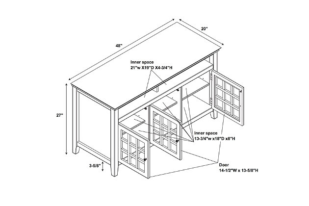 Largo Media Cabinet, Gray, large