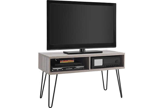 "Distressed Gray Finish Ashton Retro TV Stand for TVs up to 42"", , large"