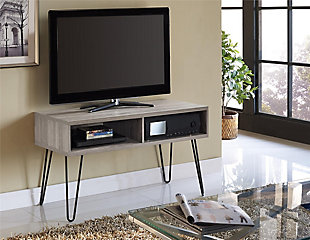 "Distressed Gray Finish Ashton Retro TV Stand for TVs up to 42"", , rollover"