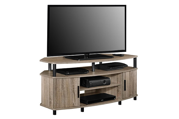 "Oak Finish Delmar Corner TV Stand for TVs up to 50"", , large"