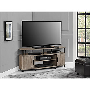 "Oak Finish Delmar Corner TV Stand for TVs up to 50"", , rollover"