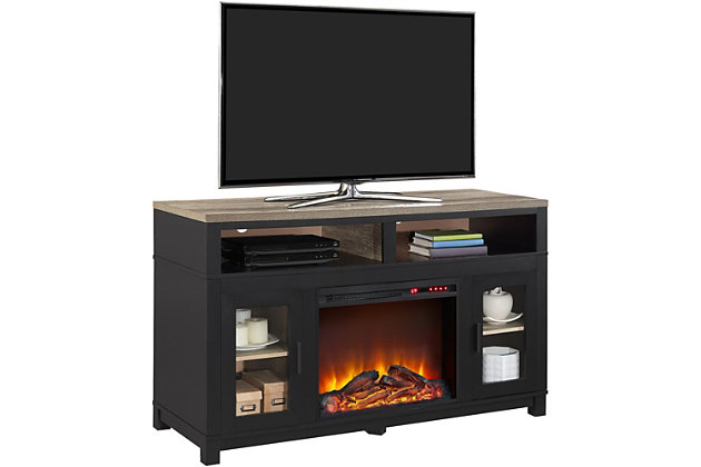 """Fireplace Kadin Electric TV Stand for TVs up to 60"""", Black, large"""
