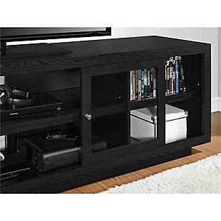 "Storage Emilia TV Stand for TVs up to 72"" Oak, Black, large"