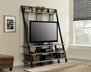 """Distressed Dobbins Entertainment Center for TVs up to 48"""", Distressed Gray Oak, rollover"""