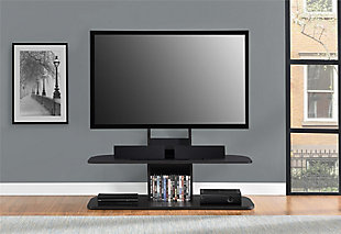"Two Shelved Ajax TV Stand with Mount for TVs up to 65"", Black, rollover"