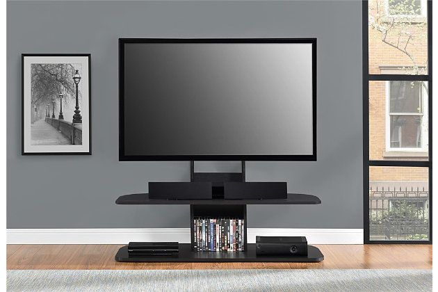 "Two Shelved Ajax TV Stand with Mount for TVs up to 65"", Black, large"