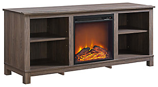 "Brown Oak Finish Rossi TV Console with Fireplace for TVs up to 60"", , large"