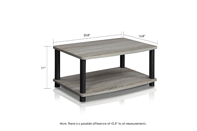 """Furinno 23.8"""" Turn-N-Tube 2-Tier Elevated TV Stand, , large"""