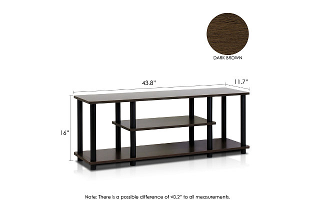 "Furinno Turn-N-Tube 3D 3-Tier for up to 55"" TV Stand, Black/Dark Brown, large"