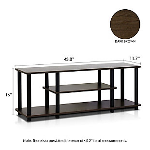"""Furinno Turn-N-Tube 3D 3-Tier for up to 55"""" TV Stand, Black/Dark Brown, large"""