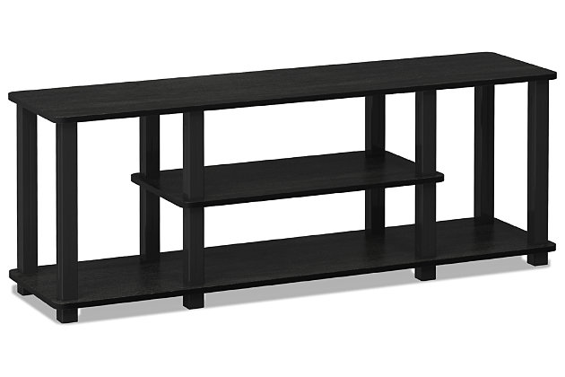 """Furinno Turn-N-Tube 3D 3-Tier for up to 55"""" TV Stand, Black, large"""