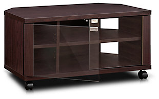 Furinno Indo TV Stand with Double Glass Doors and Casters, , rollover