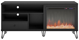 "Ameriwood Home Ashton Fireplace TV Stand for TVs up to 65"", Black, large"