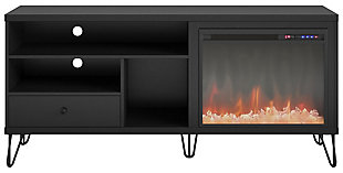"""Ameriwood Home Ashton Fireplace TV Stand for TVs up to 65"""", Black, large"""