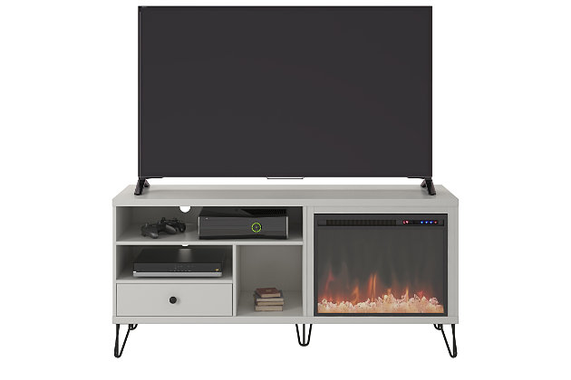 "Ameriwood Home Ashton Fireplace TV Stand for TVs up to 65"", Brown, large"