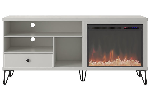 "Ameriwood Home Ashton Fireplace TV Stand for TVs up to 65"", White, large"