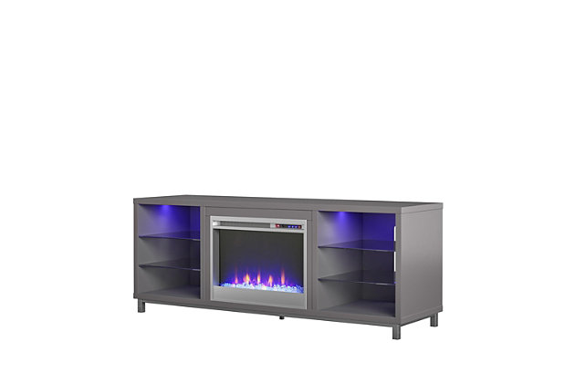 """Ameriwood Home Norton Fireplace TV Stand for TVs up to 70"""", Gray, large"""