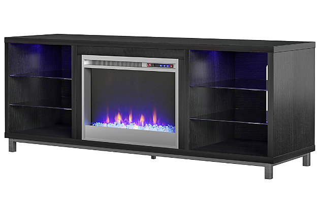 """Ameriwood Home Norton Fireplace TV Stand for TVs up to 70"""", Black, large"""