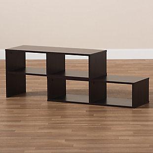 Baxton Studio Andor Dark Brown Adjustable 2-Piece Wood TV Stand, , rollover