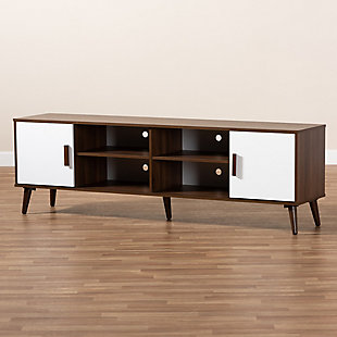 Baxton Studio Quinn Two-Tone White and Walnut 2-Door Wood TV Stand, , rollover