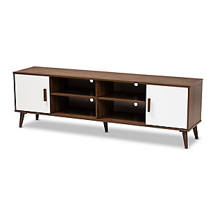 Baxton Studio Quinn Two-Tone White and Walnut 2-Door Wood TV Stand, , large