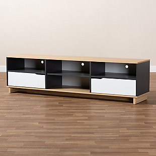 Baxton Studio Reed Multicolor 2-Drawer Wood TV Stand, , rollover