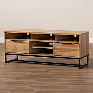 Baxton Studio Reid Industrial Oak Finished Wood 2-Drawer TV Stand, , rollover