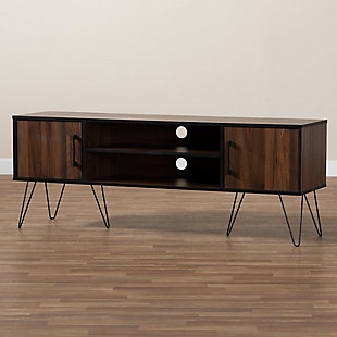 Baxton Studio Corina Two-Tone Walnut and Black Finished Wood TV Stand, , rollover