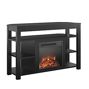 "Ameriwood Ira Corner Fireplace TV Stand for TVs up to 55"", Black, large"
