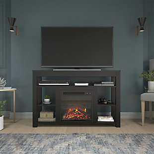 "Ameriwood Ira Corner Fireplace TV Stand for TVs up to 55"", Black, rollover"