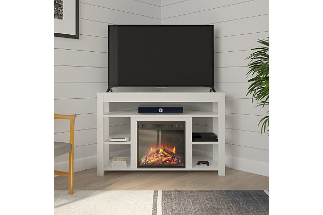 """Ameriwood Ira Corner Fireplace TV Stand for TVs up to 55"""", White, large"""