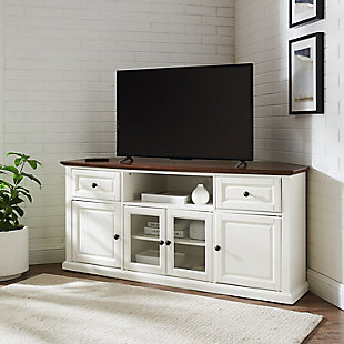 "Crosley 60"" Corner TV Stand, White, rollover"
