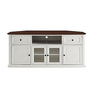 "Crosley 60"" Corner TV Stand, White, large"