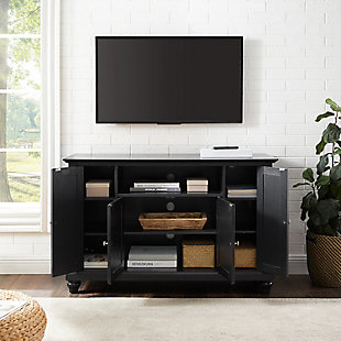 "Crosley Cambridge 48"" TV Stand, Black, large"
