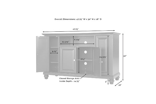 "Crosley Cambridge 48"" TV Stand, Light Brown, large"