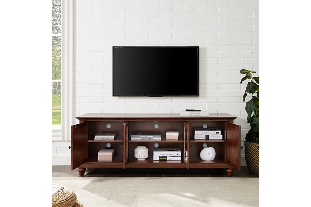 "Crosley Cambridge 60"" Low Profile TV Stand, Dark Brown, large"
