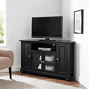 "Crosley Alexandria 48"" Corner TV Stand, Black, rollover"