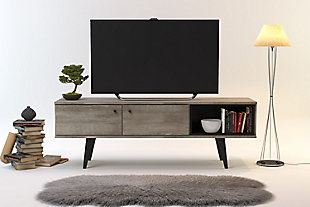 International Home Distressed 2-Cabinet TV Stand, Brown, large