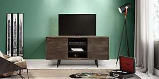 International Home Distressed 3-Shelf TV Stand, Brown, large