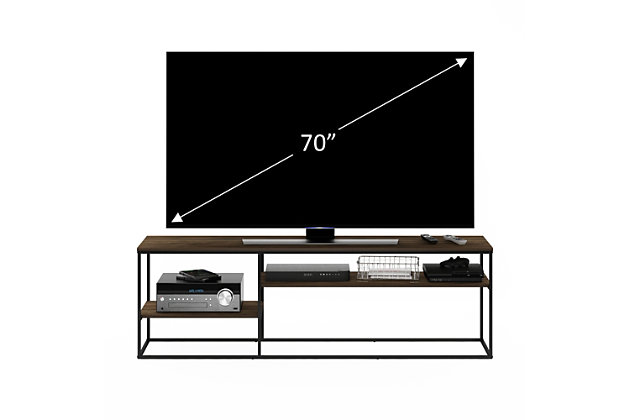 Furinno Moretti Modern Lifestyle TV Stand  Furinno Moretti Modern Lifestyle TV Stand for TV up to 78 Inch, Columbia Walnut, Brown, large