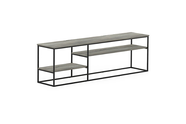 Furinno Moretti Modern Lifestyle TV Stand  Furinno Moretti Modern Lifestyle TV Stand for TV up to 78 Inch, French Oak Gray, Gray, large