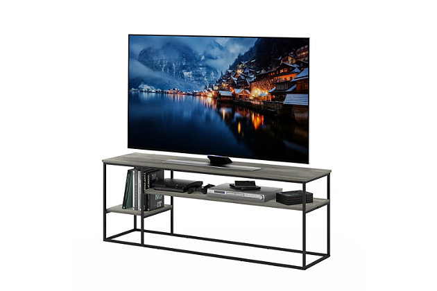 Furinno Moretti Modern Lifestyle TV Stand  Furinno Moretti Modern Lifestyle TV Stand for TV up to 65 Inch, French Oak Gray, Gray, large