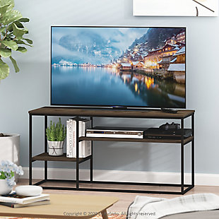 Furinno Moretti Modern Lifestyle TV Stand  Furinno Moretti Modern Lifestyle TV Stand for TV up to 50 Inch, Columbia Walnut, Brown, rollover
