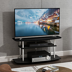 Furinno Moretti Modern Lifestyle TV Stand  Furinno Frans Turn-N-Tube 3-Tier TV Stand for TV up to 46 Inch, Black Oak, Black, rollover