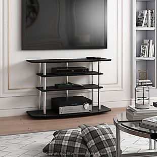 Furinno Moretti Modern Lifestyle TV Stand  Furinno Frans Turn-N-Tube 4-Tier TV Stand for TV up to 46 Inch, Black Oak, Black, rollover