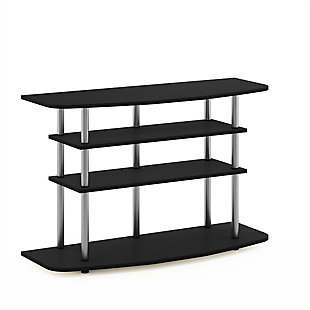 Furinno Moretti Modern Lifestyle TV Stand  Furinno Frans Turn-N-Tube 4-Tier TV Stand for TV up to 46 Inch, Black Oak, Black, large